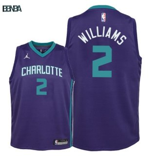 Maillot NBA Enfant Charlotte Hornets NO.2 Marvin Williams Púrpura Statement 2018 Outlet