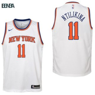 Maillot NBA Enfant New York Knicks NO.11 Frank Ntilikina Blanc Association 2017-18 Outlet