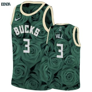Maillot NBA Nike Milwaukee Bucks NO.3 George Hill Vert Outlet