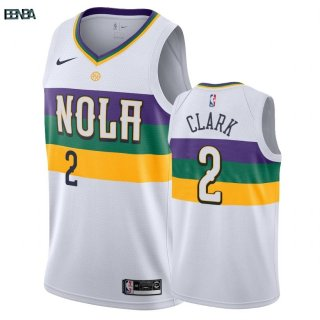 Maillot NBA New Orleans Pelicans NO.2 Ian Clark Nike Blanc Ville 2018-19 Outlet