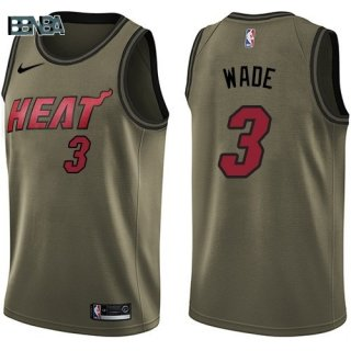 Maillot NBA Salute To Servicio Miami Heat NO.3 Dwyane Wade Nike Armée Vert 2018 Outlet