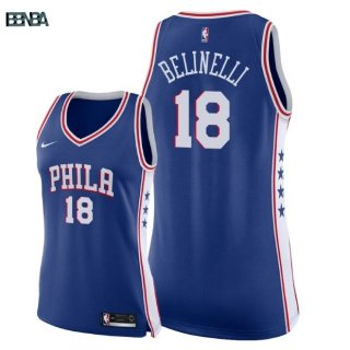 Maillot NBA Mujer Philadelphia 76ers NO.18 Marco Belinelli Bleu Icon 2018 Outlet