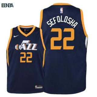 Maillot NBA Enfant Utah Jazz NO.22 Thabo Sefolosha Marine Icon 2018 Outlet