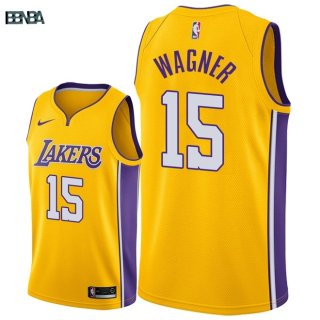 Maillot NBA Los Angeles Lakers NO.15 Moritz Wagner Jaune Icon 2018 Outlet