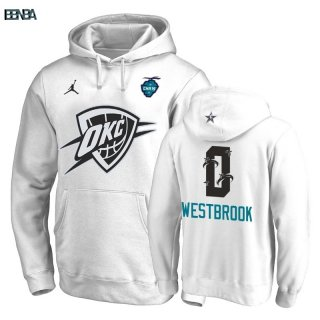 Hoodies 2019 All Star Oklahoma City Thunder NO.0 Russell Westbrook Blanc Outlet
