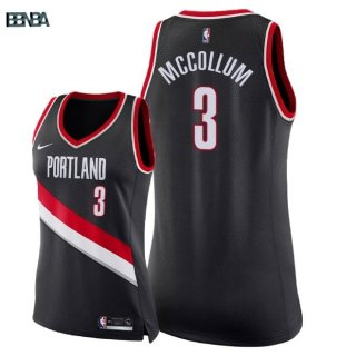 Maillot NBA Mujer Portland Trail Blazers NO.3 C.J. McCollum Noir Icon 2018 Outlet