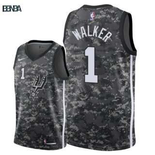 Maillot NBA San Antonio Spurs NO.1 Lonnie Walker Nike Camouflage Ville 2018 Outlet