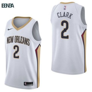 Maillot NBA New Orleans Pelicans NO.2 Ian Clark Blanc Association 2017-18 Outlet
