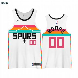Maillot NBA Earned Edition San Antonio Spurs NO.00 Johnny Moore Blanc 2020-21 Outlet