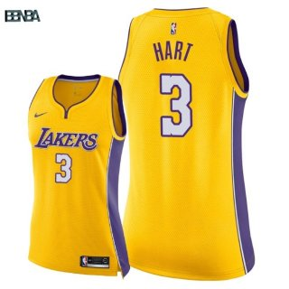 Maillot NBA Mujer Los Angeles Lakers NO.3 Josh Hart Jaune Icon 2018 Outlet