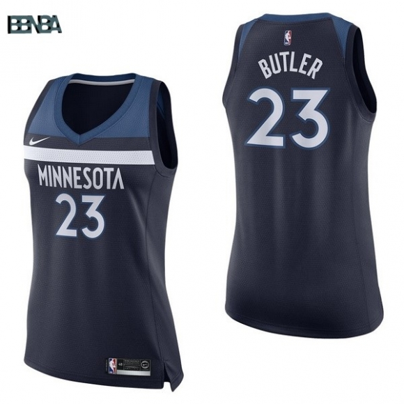 Maillot NBA Mujer Minnesota Timberwolves NO.23 Jimmy Butler Marine Icon 2017-18 Outlet
