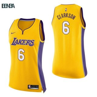 Maillot NBA Mujer Los Angeles Lakers NO.6 Jordan Clarkson Jaune Icon 2017-18 Outlet
