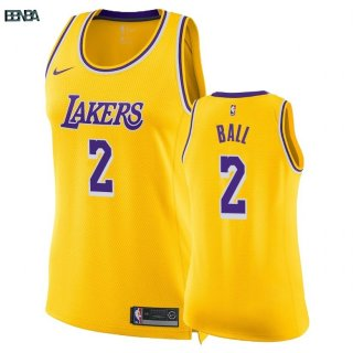 Maillot NBA Mujer Los Angeles Lakers NO.2 Lonzo Ball Jaune Icon 2018-19 Outlet