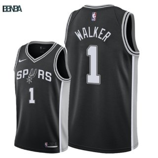Maillot NBA San Antonio Spurs NO.1 Lonnie Walker Noir Icon 2018 Outlet