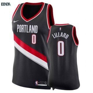 Maillot NBA Mujer Portland Trail Blazers NO.0 Damian Lillard Noir Icon 2018 Outlet