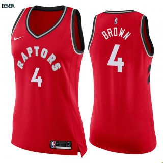 Maillot NBA Mujer Toronto Raptors NO.4 Lorenzo Brown Rouge Icon 2018 Outlet