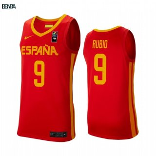 Maillot Coupe Du Monde Basket FIBA 2019 Spain NO.9 Ricky Rubio Rouge Outlet