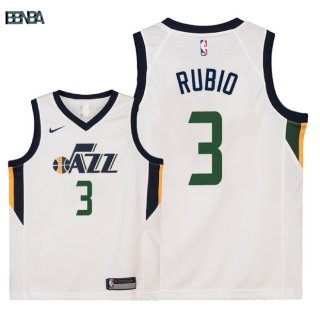 Maillot NBA Enfant Utah Jazz NO.3 Ricky Rubio Blanc Association 2018 Outlet