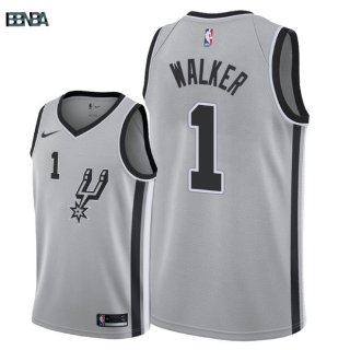 Maillot NBA San Antonio Spurs NO.1 Lonnie Walker Gris Statement 2018 Outlet