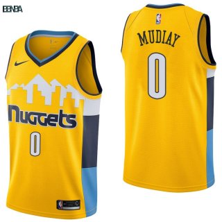 Maillot NBA Denver Nuggets NO.0 Emmanuel Mudiay Jaune Statement 2017-18 Outlet