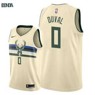 Maillot NBA Milwaukee Bucks NO.0 Trevon Duval Nike Crème Ville 2018 Outlet