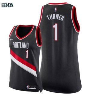Maillot NBA Mujer Portland Trail Blazers NO.1 Evan Turner Noir Icon 2018 Outlet