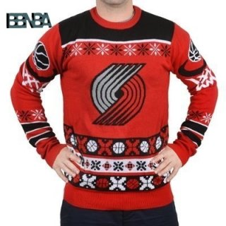 NBA Unisex Ugly Sweater Portland Trail Blazers Rouge Noir Outlet