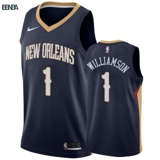 Maillot NBA Nike New Orleans Pelicans NO.1 Zion Williamson Marine Icon Outlet